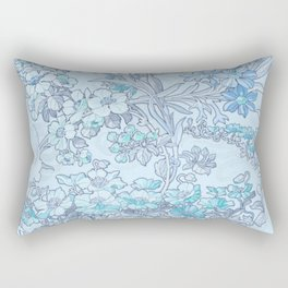 "Alphonse Mucha ""Anemones, Apple Blossoms and Narcissi"" (edited blue) Rectangular Pillow"