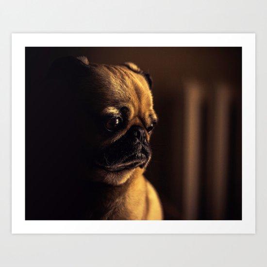 Cute Pug Dog Art Print
