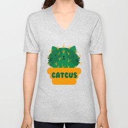 Catcus Succulent I Funny Cactus design Fashion I Cat Pun Unisex V-Neck