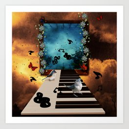 Music, piano with birds and butterflies Art Print