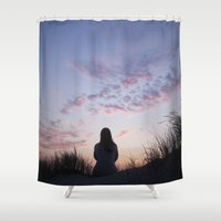 sunset Shower Curtains featuring Sunset  by Maria Heyens
