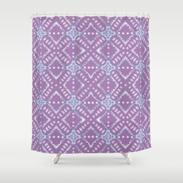 Frosted Sea Glass Mosaic Pattern Shower Curtain