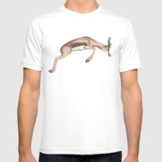 leaping gazelle White MEDIUM Mens Fitted Tee