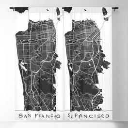 Black & White San Francisco Map Blackout Curtain