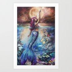 Moonlit Siren Art Print