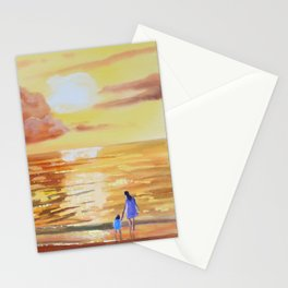 Mother and Daughter sunset seascape Stationery Cards