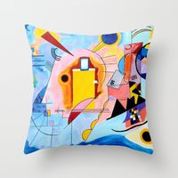 kandinsky Throw Pillows featuring Yellow Red Blue - Tribute to Kandinsky by ArtvonDanielle