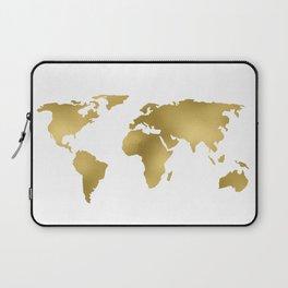 Gold Foil Map - Metallic Globe Design Laptop Sleeve