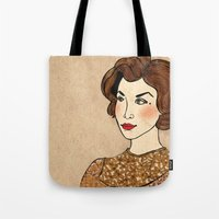 dale cooper Tote Bags featuring TWIN PEAKS Audrey Horne Loves Dale Cooper by Lindsey Caneso