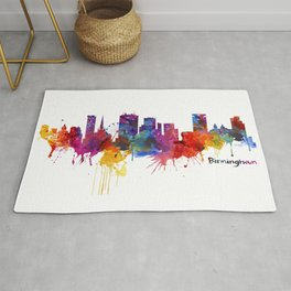 Birmingham Watercolor Skyline Rug