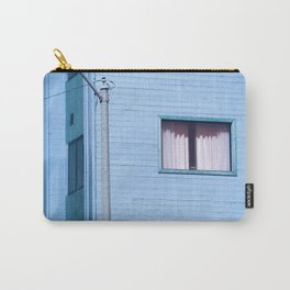 vintage blue wood building with window and electric pole Carry-All Pouch