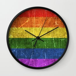 Vintage Aged and Scratched Rainbow Gay Pride Flag Wall Clock