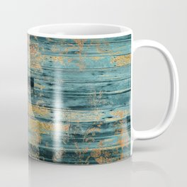 Country Teal Faux Wood Gold Floral Overlay Pattern Coffee Mug