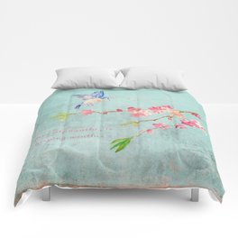 My favorite weather - Romantic Birds Cherryblossoms and Spring Typography on aqua Comforters