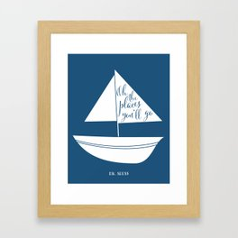 Dr Seuss Oh the Places you'll go navy sail boat Framed Art Print