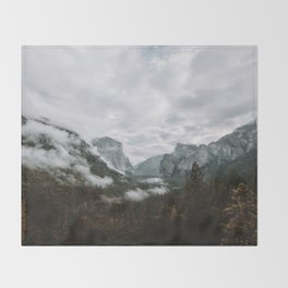 Moody Yosemite Tunnel View Throw Blanket