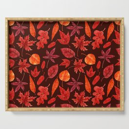 Autumn leaves watercolor Serving Tray