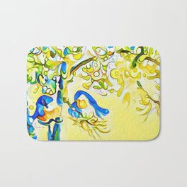 Yellow Bluebirds Sittin in a Tree, K I S S I N G by CheyAnne Sexton Bath Mat