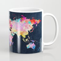 map of the world Mugs featuring World map by Bekim ART