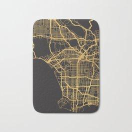 LOS ANGELES CALIFORNIA GOLD ON BLACK CITY MAP Bath Mat