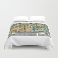 mario bros Duvet Covers featuring Super Mario Bros 3. World 1 by Mike Halliday