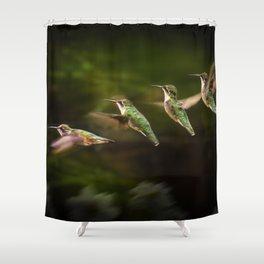 Humming Bird in Flight Shower Curtain