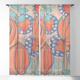 Orange Stylized Flowers Sheer Curtain