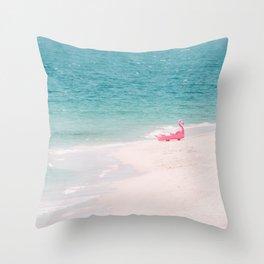 Pink Flamingo Beach Throw Pillow