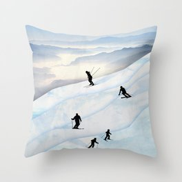 Skiing in Infinity Throw Pillow