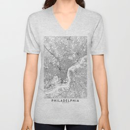 Philadelphia White Map Unisex V-Neck