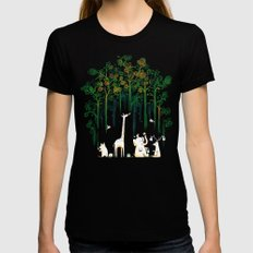 Re-paint the Forest MEDIUM Black Womens Fitted Tee