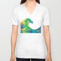 hokusai V-neck T-shirts featuring Hokusai Rainbow_A by FACTORIE