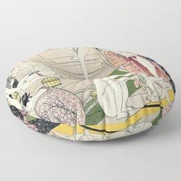 Interior of a Bathhouse by Torii Kiyonaga - Japanese Woodblock Floor Pillow