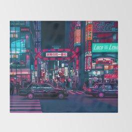 Cyberpunk Tokyo Street Throw Blanket