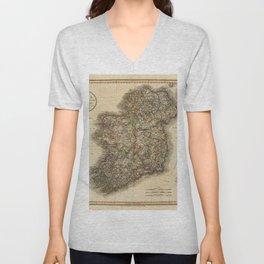 Map of Ireland 1799 Unisex V-Neck