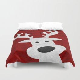 Christmas reindeer red marble Duvet Cover