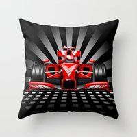 formula 1 Throw Pillows featuring Formula 1 Red Race Car by BluedarkArt