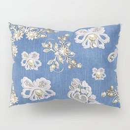 Costume jewelry, Ivory Pearls and White Lace on Blue Denim Texture Pillow Sham