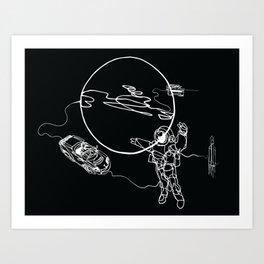 Astronaut in spacesuit, planet, spacecraft, car, cabriolet in space Art Print