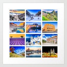 World travel collage Art Print