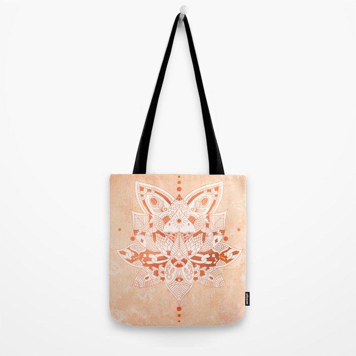 Happiness Mandala Metallic Rose Gold Beige Tote Bag