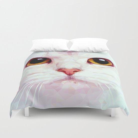 Geometric White Cat Duvet Cover