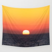 santa monica Wall Tapestries featuring Sunset over Santa Monica by emmacanfield