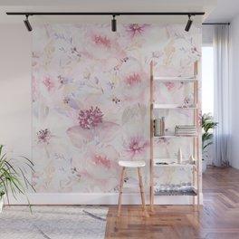 Pastel Summer Flower Watercolor Pattern Wall Mural