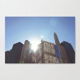 The Sun Piercing the Chicago City Skyline Canvas Print
