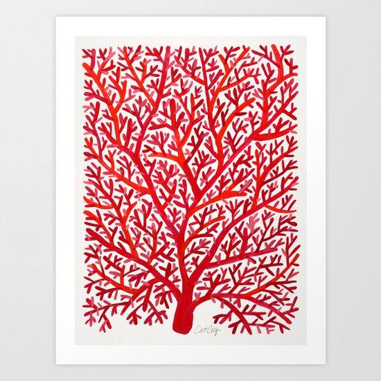 Red Fan Coral Art Print