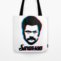 swanson Tote Bags featuring Swanson by ThePencilClub