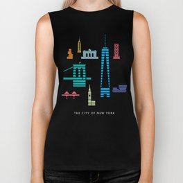 New York Skyline WTC Poster Color Biker Tank