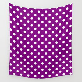 Small Polka Dots - White on Purple Violet Wall Tapestry