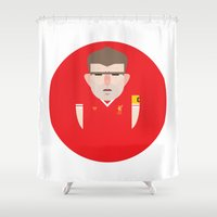 liverpool Shower Curtains featuring Steven Gerrard Liverpool Illustration by Gary  Ralphs Illustrations
